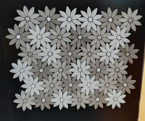 Carrara white & Wooden white flower mosaic tiles