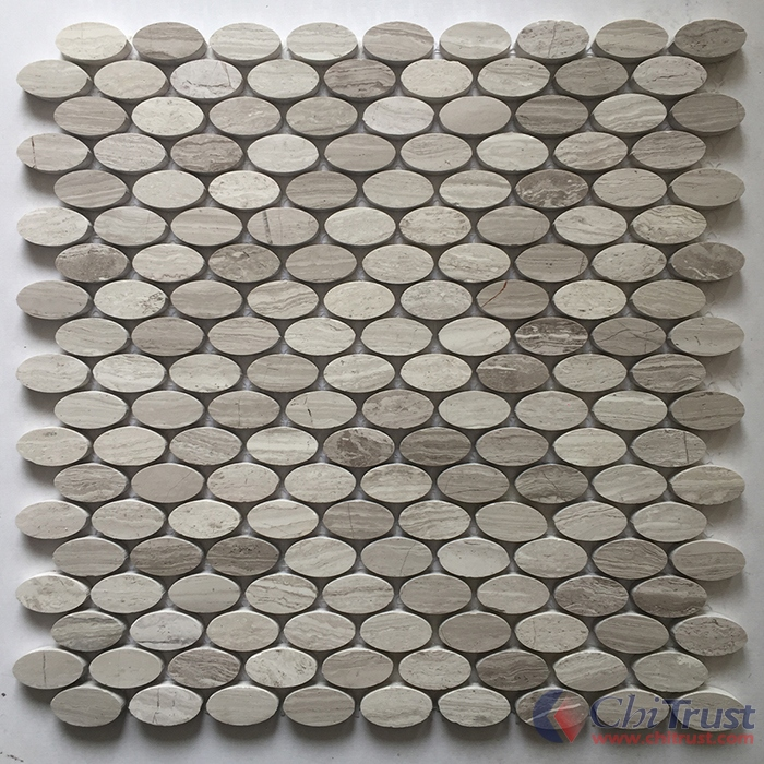 Wooden Grey Oval Mosaic Tile