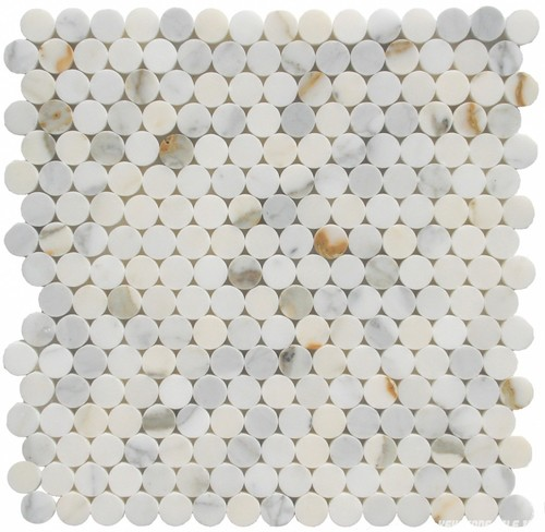 Calacatta Gold penny round mosaic tile Polished