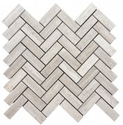 Wooden White Herringbone Mosaic Honed