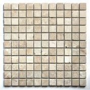 White Travertine Tumbled Mosaic