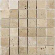 White travertine square mosaic