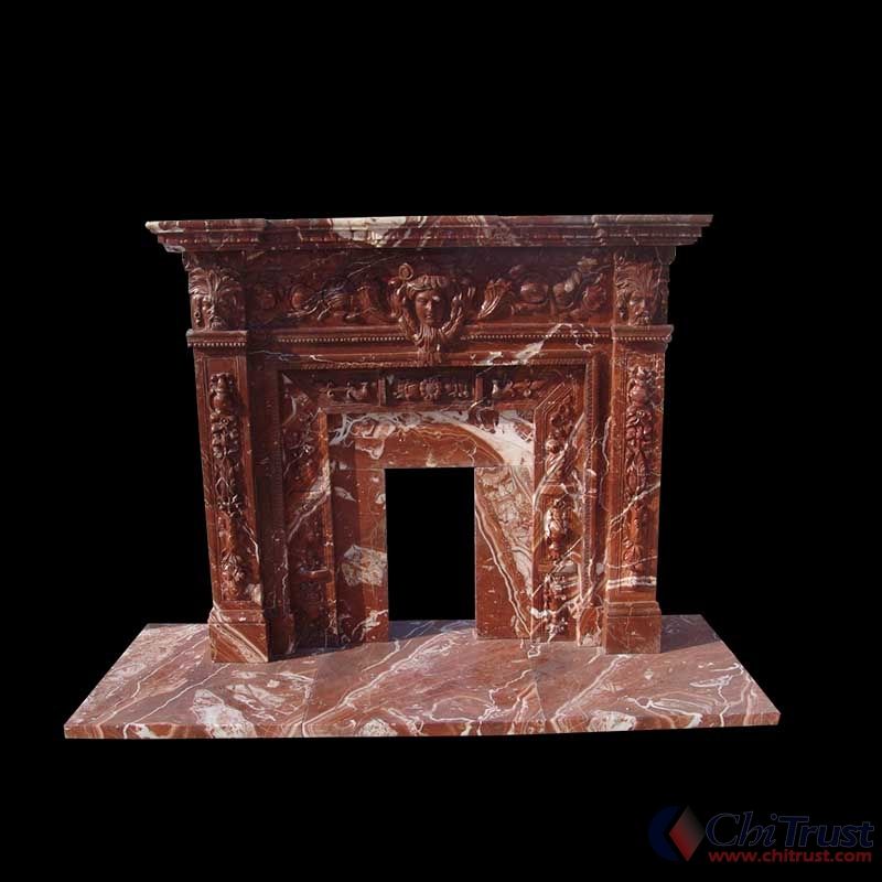 Red marble stone fireplace