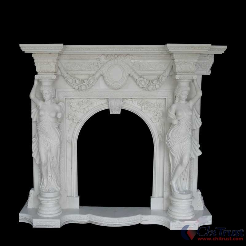 White Marble stone Fireplace
