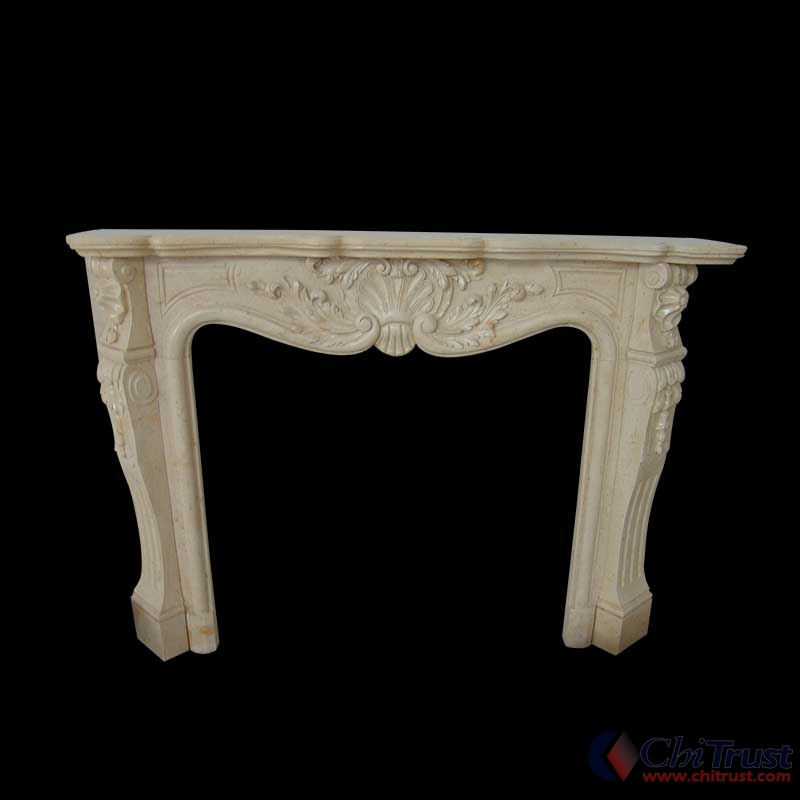 Simple marble fireplace