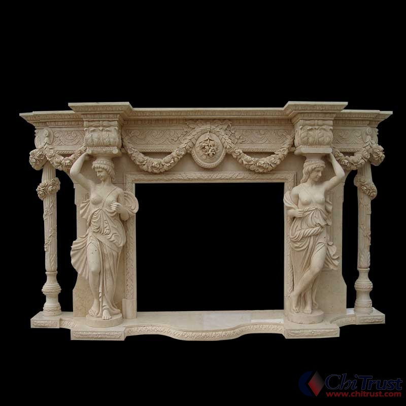 Hand carved decorative fireplace