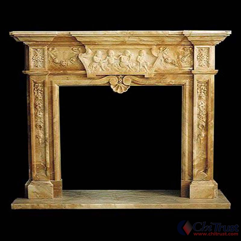 Hand carved stone fireplace