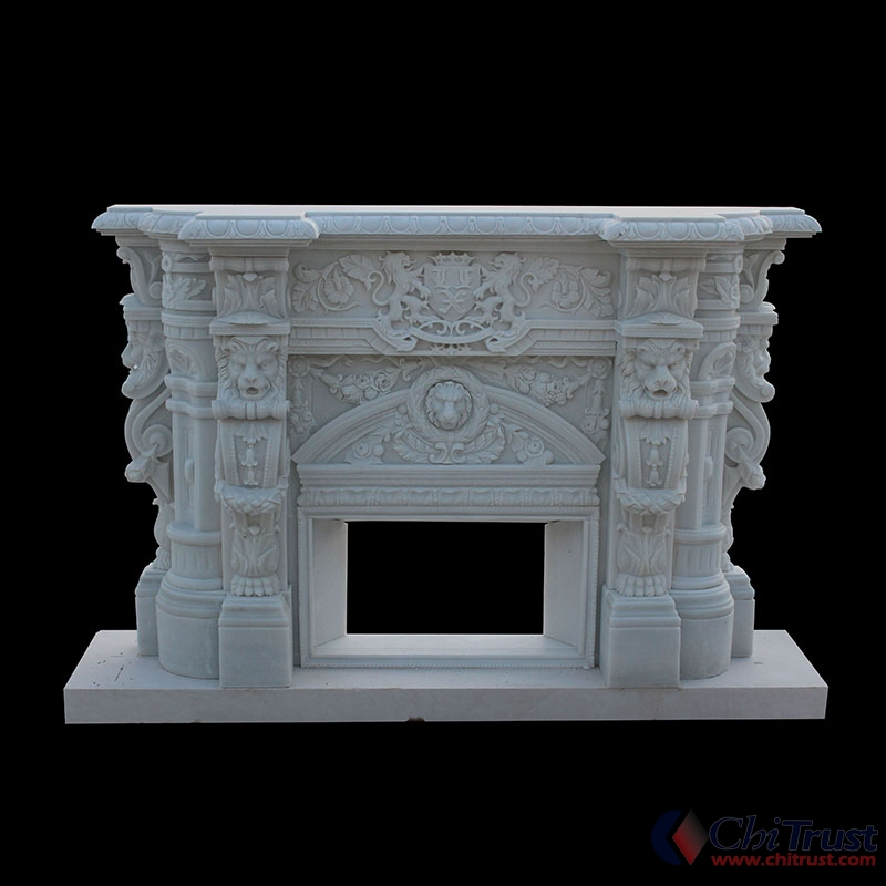 Hand carving mantel fireplace