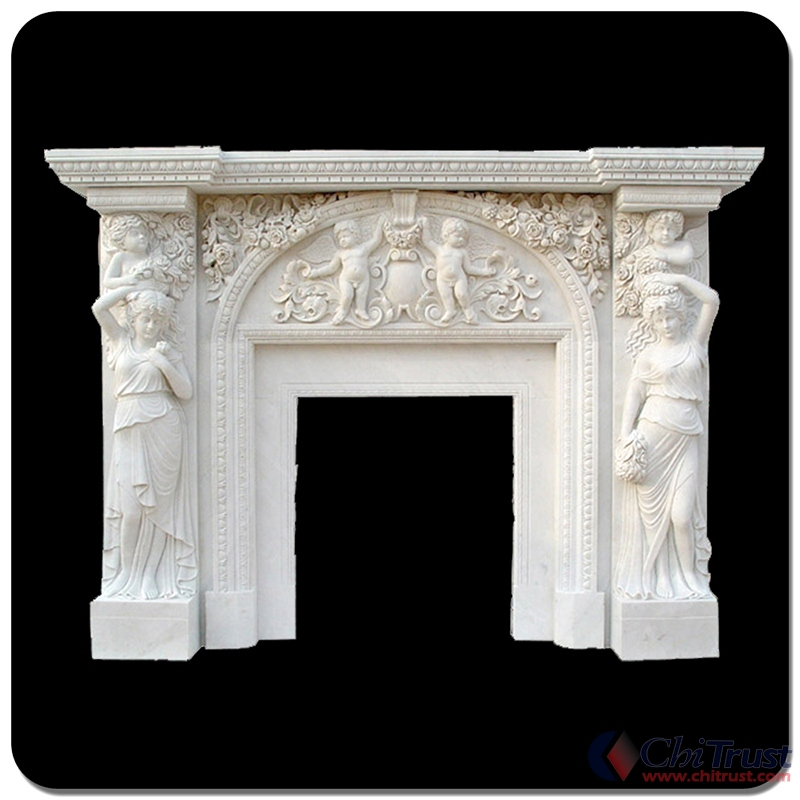 Hand made stone fireplace