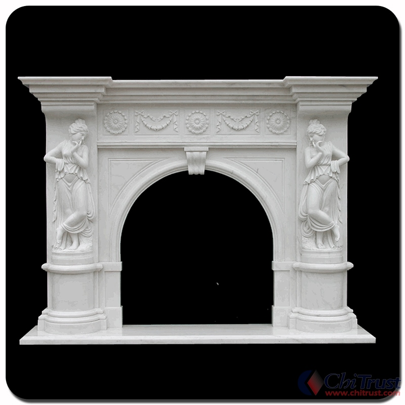 White marble stone fireplace mantel