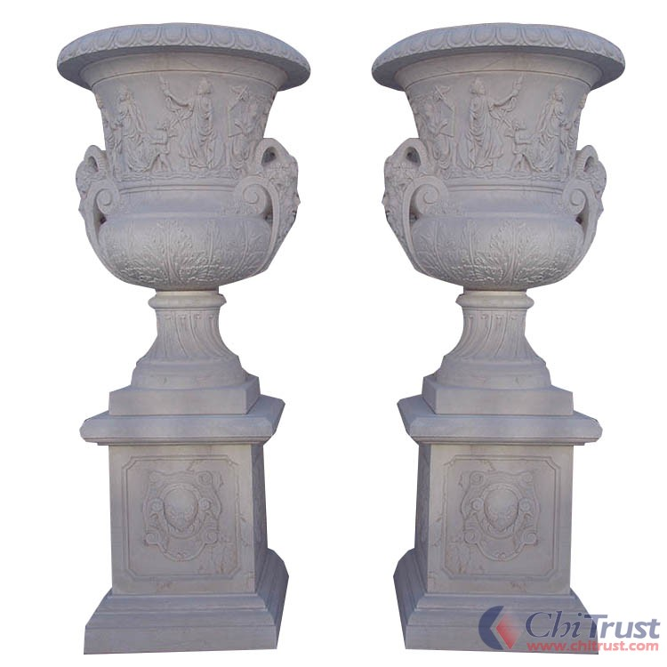 White marble customized flowerpot