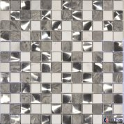 Grey & White Marble & Brush Steel Mosaic