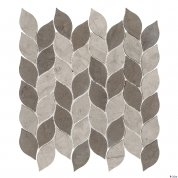 Grey leaf mosaic tile