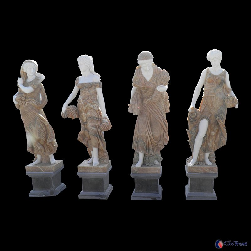 Stone carving life size female sculptures