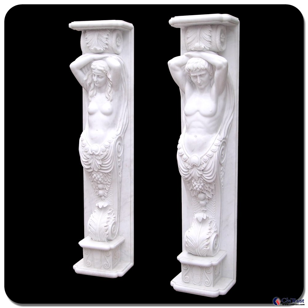Decorative columns stone carving statue