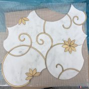White marble with golden