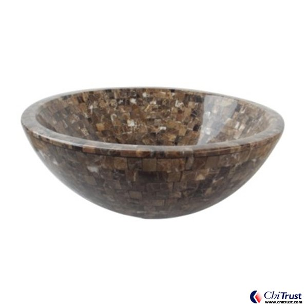 Dark Emperador Mosaic basin CT607