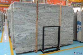 wavy grain light grey marble slab